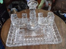 STUNNING VINTAGE CUT CRYSTAL GLASS SET TRAY CANDLESTICK 2 X POTS 2 X PIN DISHES